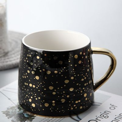 Black Metallic Gold Speckled Mug