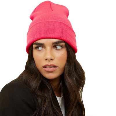 Neon Pink Beanie Hat For Her