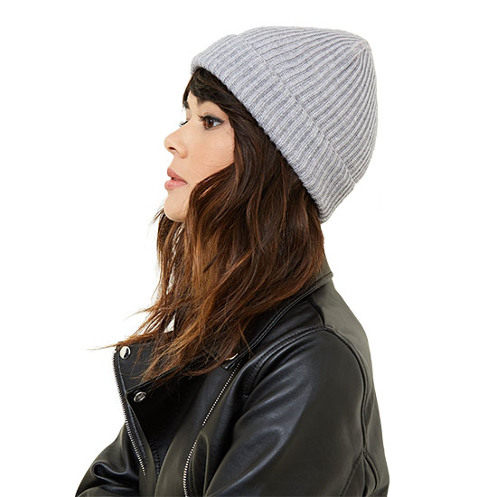 Grey Ribbed Beanie Hat For Her