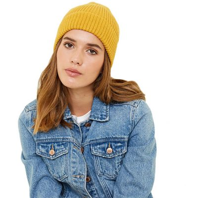 Yellow Ribbed Beanie Hat For Her