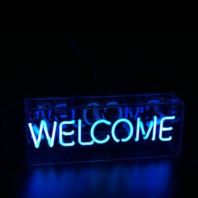 Blue Welcome Neon Light