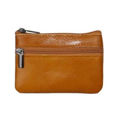 Men's Leather Zipped Pocket Wallet Tan