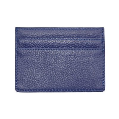Classic Leather Card Holder Mens Blue