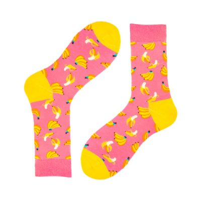 Pink Novelty Banana Socks